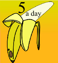 book cover type image in cartoon style with a big bannana and title 5 aday