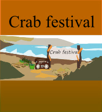 book cover type  image in cartoon style with the crab festival title and background
