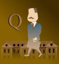 book cover type in catoon style with a man walking outside with a briefcase and title Q